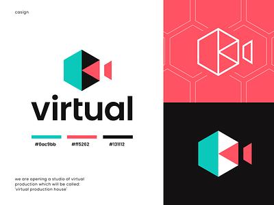 Virtual production virtual overlapping abstract hexagon photography brand identity logo icon light camera