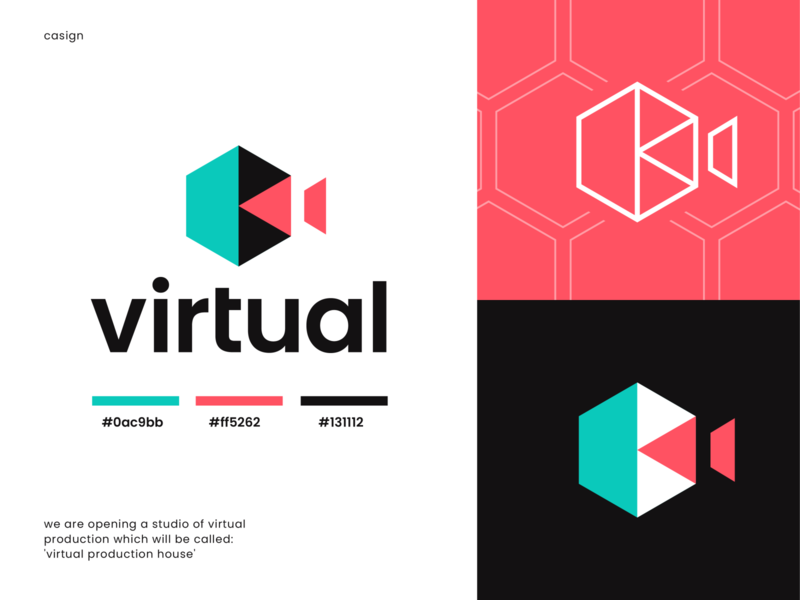 Virtual production virtual overlapping abstract hexagon photography brand identity logo icon light camera