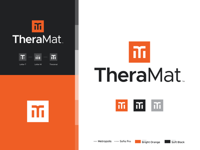 Theramat™ meditation yoga company brand identity branding monograms sans serif typography abstract modern orange minimal square logo icon letter m t monogram