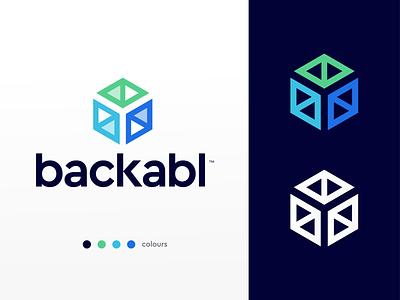 Backabl tech finance credit funding storage box hexagon modern logo design bank