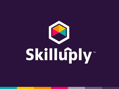SkillUply illustration logo brand identity logo design arrows abstract colorful hexagon up arrow skill