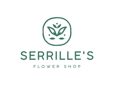 Serille's Flower Shop lotus leaves minimal cute bloom floral feminine nature brand identity logo icon flower