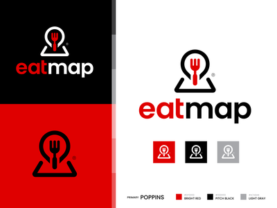 Eatmap Concept drink eat map location pin fork food restaurant brand identity logo icon logo concept