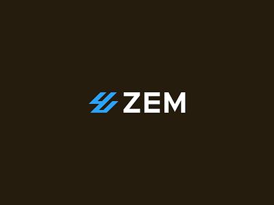ZEM portal infrastructure logo design concept modern wordmark abstract z blue minimal brand identity logo design letter z