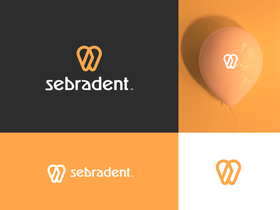 SebraDent Concept balloon teeth tooth minimal orange cute childrens children dentists brand identity logo design