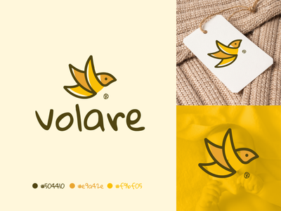 Volare nature young child cute company apparel clothing baby color yellow bird logo design