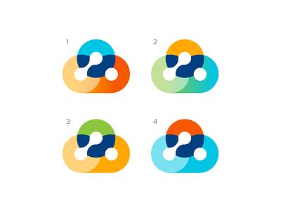 Colorful Clouds negativespace gradient technology tech cloud logo design