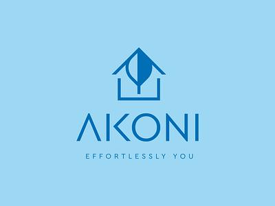 Akoni Concept negativespace leaf dark blue light blue blue branding icon logo design house