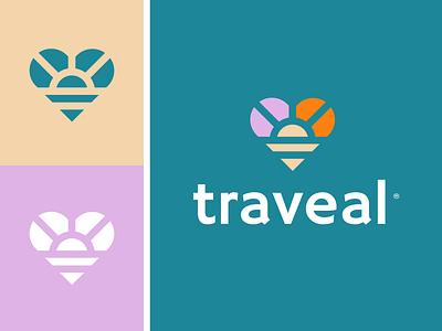 Traveal love heart sun sunshine rainbow brand identity logo icon