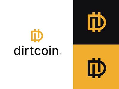 DirtCoin d letter d yellow dollar euro money icon concept logo coin