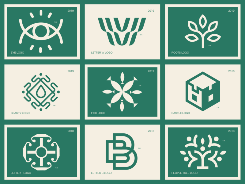 Logo Collection tree people letter t beauty fish castle leave roots letter w eye grid minimal design brand identity brand icon logo collection