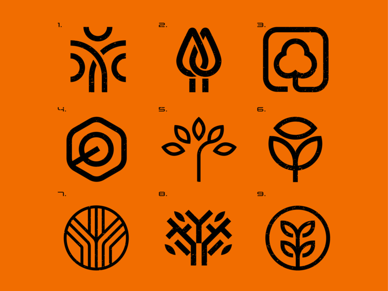 Tree Icons design abstract grid minimal environment nature leaves forest tree logo icon