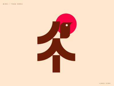 Bird + Tree flying animal brown red sun china leaves nature icon brand logo tree bird
