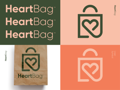 HeartBag™ paperbag biogradable nature bio symbol food lunch couple love bag heart logo design