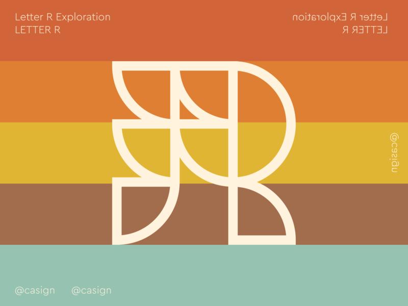 Letter R Exploration lettermark icon retro geometric monogram letter exploration letter r