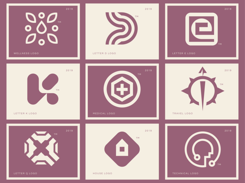Logo Collection wellness leaves medical house q kit d letter e travel icon grid logo collection