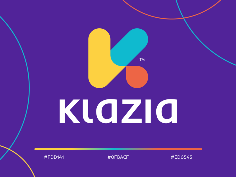 Klazia red yellow logotype wordmark purple colorful lettermark icon monogram letter minimal abstract logo letter k