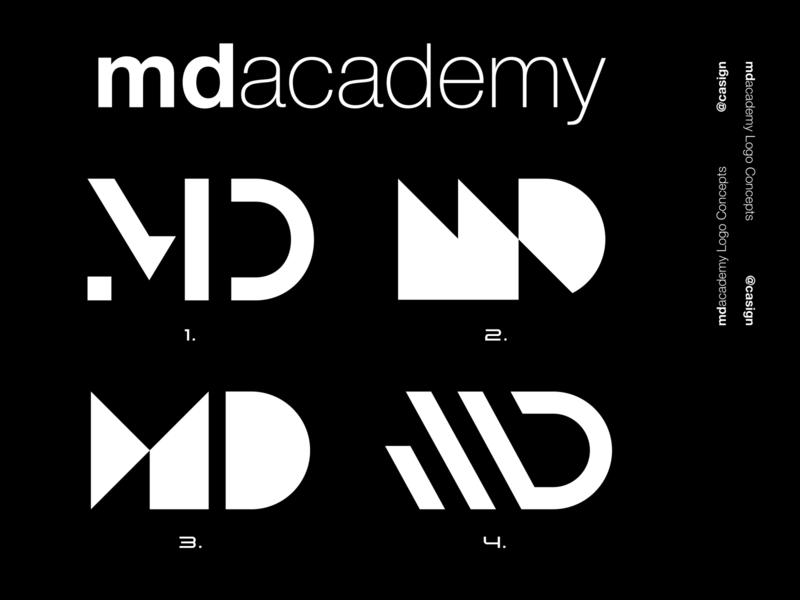 MDacademy Concepts company simple icon branding design brand identity grid md d m monogram letter mark monogram minimal logo icon