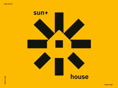 Sun + House negativespace summer sunshine company logo company roof home house sun