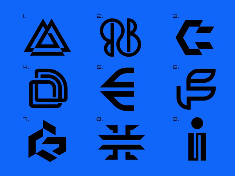 A B C D E F G H I branding grid minimal brand identity logo icon letters a b c d e f g h i alphabet icon logo