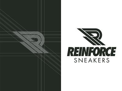 Reinforce Sneakers Logo & Grid r clean movement action sports minimal bold reinforce kicks sneakers branding logo