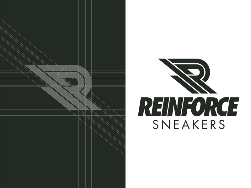 Reinforce Sneakers Logo & Grid minimal bold reinforce kicks sneakers apparel apparel design design logo design branding denver colorado logo