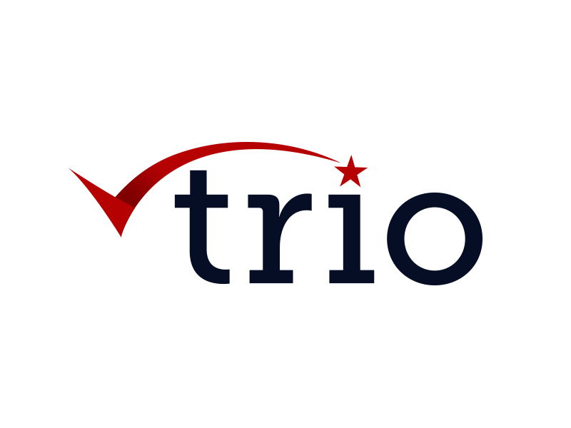 Trio Credit Care Logo usa typography swoos star credit card credit trio