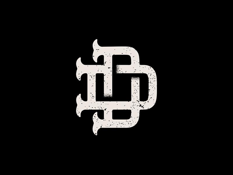The Denver Degenerates Logo denver podcast vintage badge tan black monogram letter mark d dd texture vintage monogram
