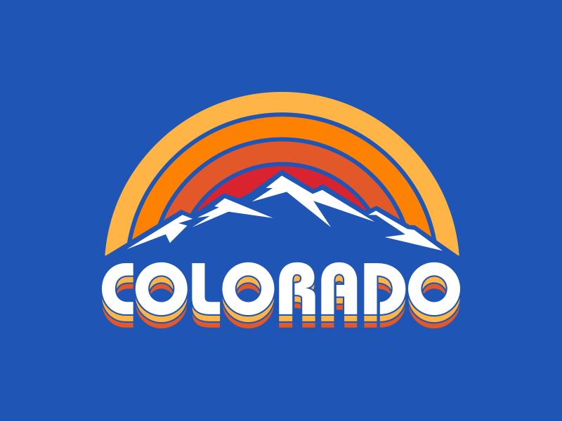 Colorado Rainbow Sunset sunset t-shirt t-shirt design logo design bauhaus outdoor design logo mountain apparel design colorado