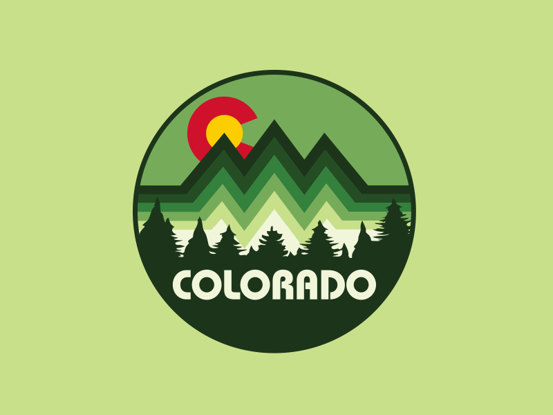 Colorado Mountain Badge trees denver outdoor logo outdoor badge forrest thick lines bold lines mountains apaprel design apparel logo colorado