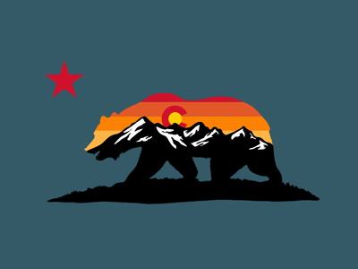 Cali Colorado Bear outdoor badge sunset mountains colorado california outdoor logo outdoor outdoor design flag bear cali