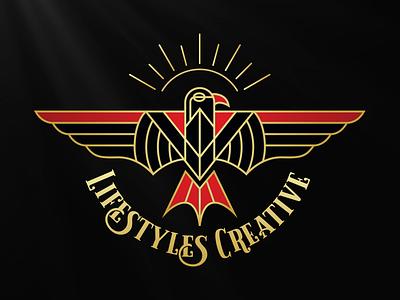 Lifestyles Creative Eagle Logo creative lifestyles monoline line art illustration thunderbird eagle apparel design logo