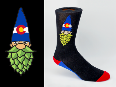 Hops Gnome knit branding and identity beer branding branding gnome colorado apparel beer hops logo design fun socks socks sock design apparel design logo