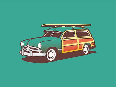 Woody Wagon vehicle apparel surf oldschool illustration car wagon woody-wagon