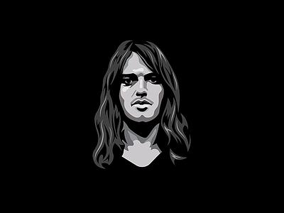 David Gilmour Illustration vectorart illustration illustrator gilmour davidgilmour blackandwhite black pink floyd