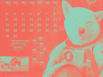 2020 Cats + Dog Space Journey calendar journey space dog japonese shibainu astronaut