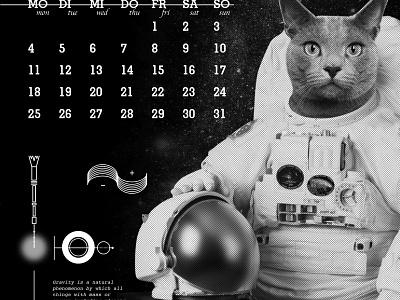 2020 Cats + Dog Space Journey risograph calendar journey space astrounaut cat