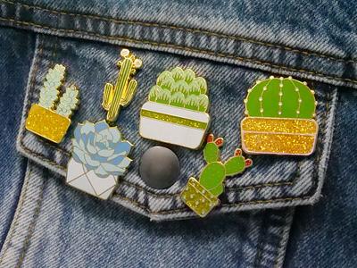 Succulents and Cacti Enamel Pins enamel pin enamelpin cacti cactus succulent