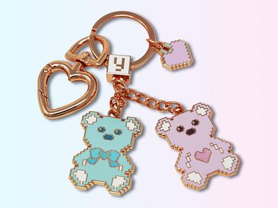 Love U 100%, Bears Keychain, Enamel Bag Charm, Enamel Keychain love enamel bears keychain