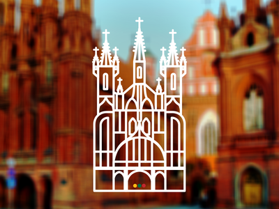Church of St. Anne lithuania line art architecture church icon