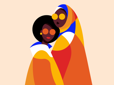 Mother & daughter queens family muslim scarf adobe illustrator flat art graphicdesign graphism portrait woman illustration woman shapes minimalism daughter mother motherhood