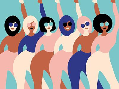 Okay ladies, now let's get in formation ladies amazons fighting ensemble femmes international womens day graphism dancing minimalism adobe illustrator graphic design illustration woman illustration