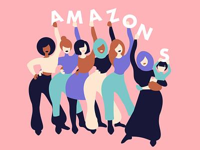 Amazons together family amazons womens day international womens day illustration art art flat woman inspiration minimalism adobe illustrator graphic design illustration woman illustration