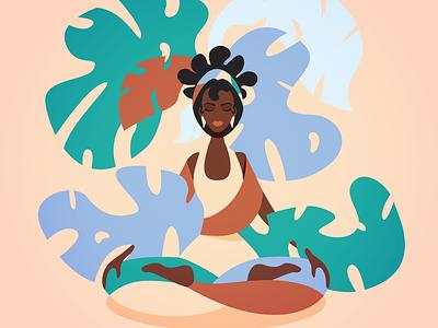 Yoga leaves nature yoga pose yoga flat inspiration woman minimalism adobe illustrator graphic design illustration woman illustration