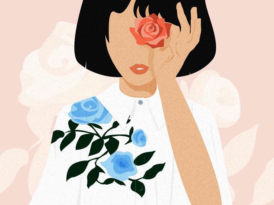 See flowers everywhere branding adobe illustrator beauty soul spirit love roses flowers graphic design woman illustration artist illustration art illustration