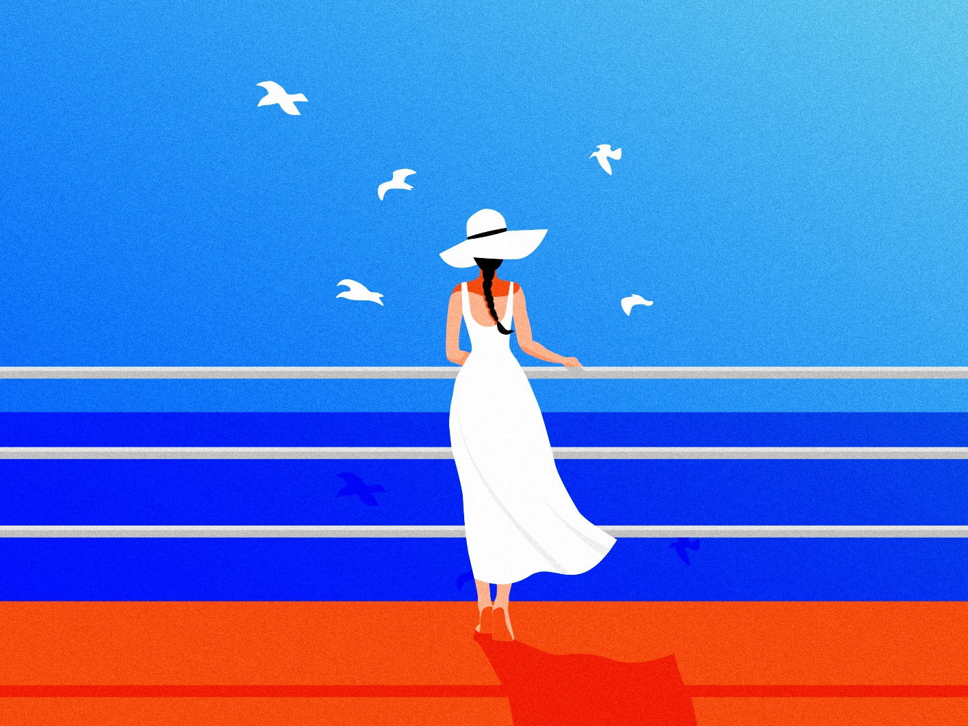 Just breathe blue blue sky sea serenity peace graphic designer vector minimalism inspiration flat branding graphic design adobe illustrator woman illustration illustration