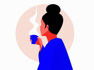 Tea time minimal simple adobe illustrator melancholy silence flat woman illustration woman tea