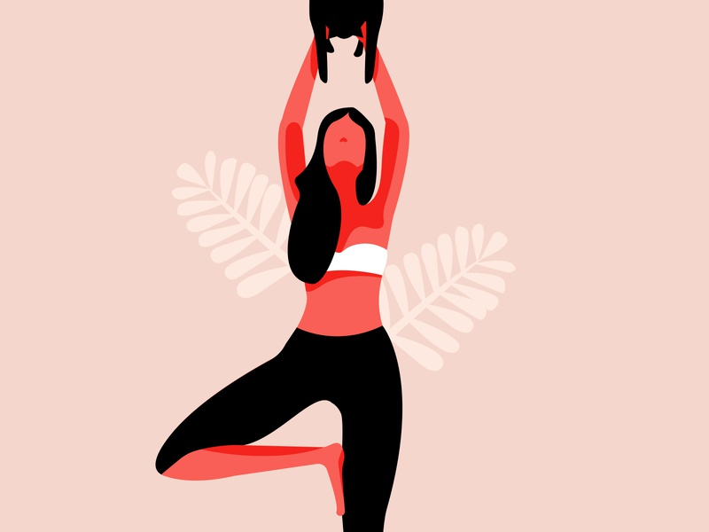 Tree Pose adobe illustrator woman illustration yoga pose flat illustration woman design minimalism yoga
