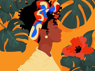 Brown skin girl minimalism flower nature flat illustration woman illustration woman black is beautiful black girl brown skin girl
