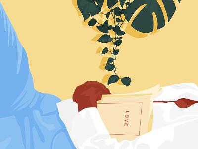 Perfect Sunday love mood sunday book lover woman inspiration minimalism adobe illustrator graphic design illustration woman illustration